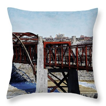 Throw Pillow featuring the digital art At Three Bridges Park by David Blank