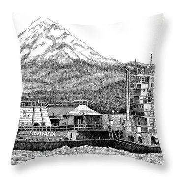 At Work On The Columbia Throw Pillow by Lawrence Tripoli