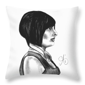 At Your Service - Bartender Art - Charcoal Drawing Illustration By Ai P. Nilson  Throw Pillow