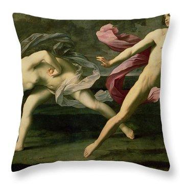 Atalanta And Hippomenes Throw Pillow by Guido Reni