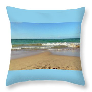 Atardecer Playa El Ultimo Trolly Tranvia Throw Pillow