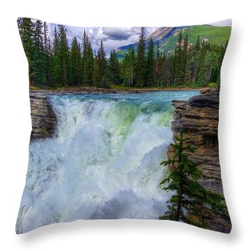 Athabasca Falls, Ab  Throw Pillow