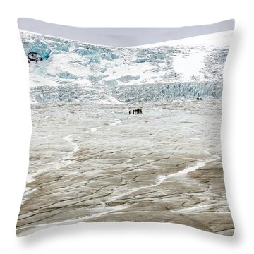 Athabasca Glacier With Guided Expedition Throw Pillow