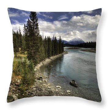 Athabasca River Throw Pillow by John Gilbert