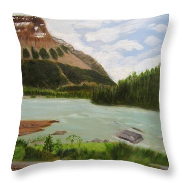 Throw Pillow featuring the painting Athabasca River by Linda Feinberg
