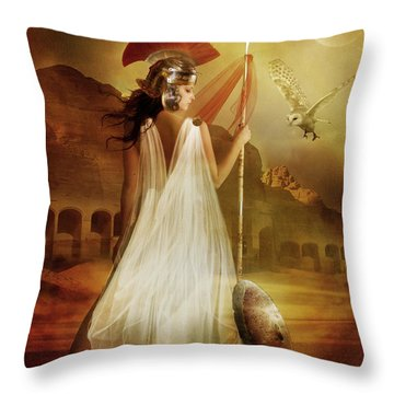 Athena Throw Pillow by Mary Hood