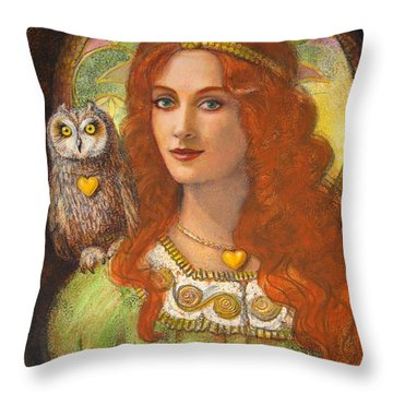 Athena And Her Owl- Wise Ones Throw Pillow