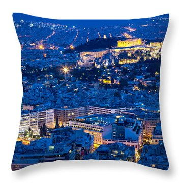 Athens Blue Hour Throw Pillow