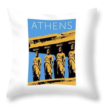 Throw Pillow featuring the digital art Athens Erechtheum Blue by Sam Brennan