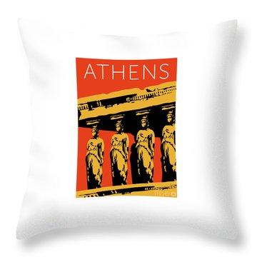 Throw Pillow featuring the digital art Athens Erechtheum Orange by Sam Brennan