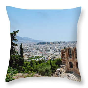 Athens From Acropolis Throw Pillow