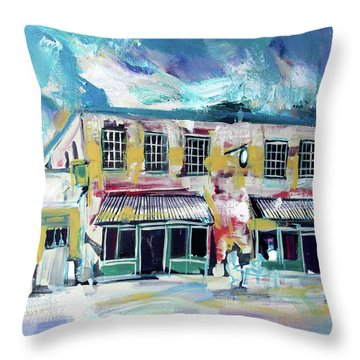 Throw Pillow featuring the painting Athens Ga The Grit by John Jr Gholson