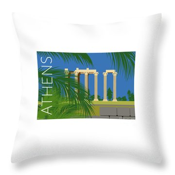Throw Pillow featuring the digital art Athens Temple Of Olympian Zeus - Blue by Sam Brennan