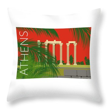 Throw Pillow featuring the digital art Athens Temple Of Olympian Zeus - Orange by Sam Brennan