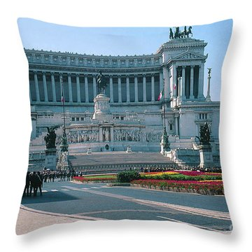 National Monument To King Victor Emmanuel II In Piazza Venezia, Rome Throw Pillow by Greta Corens
