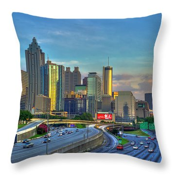 Throw Pillow featuring the photograph Atlanta Coca-cola Sunset Reflections Art by Reid Callaway