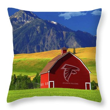 Throw Pillow featuring the photograph Atlanta Falcons Barn by Movie Poster Prints