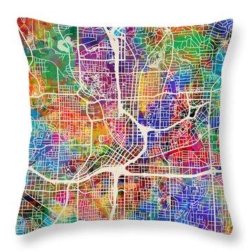 Atlanta Georgia City Map Throw Pillow