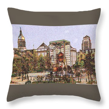 Atlanta Georgia Usa - Color Pencil Throw Pillow