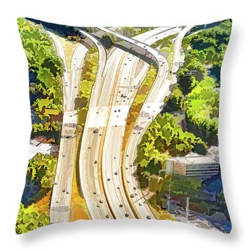 Atlanta Highways Throw Pillow