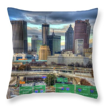 Throw Pillow featuring the photograph Atlanta Moving On Skyline Cityscape Art by Reid Callaway