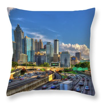 Throw Pillow featuring the photograph Atlanta The Capital Of The South Cityscapes Sunset Reflections Art by Reid Callaway