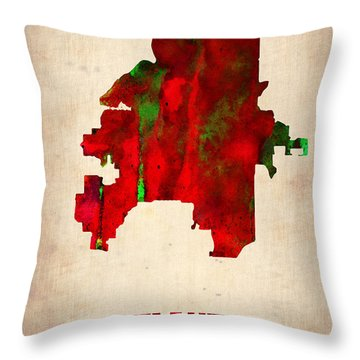Atlanta Watercolor Map Throw Pillow by Naxart Studio