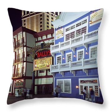 Atlantic City Boardwalk At Night Throw Pillow by Sally Weigand