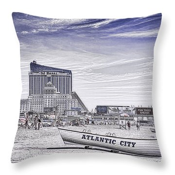 Throw Pillow featuring the photograph Atlantic City by Linda Constant