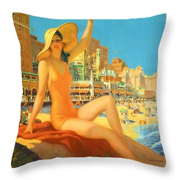 Atlantic City  Throw Pillow by Georgia Fowler
