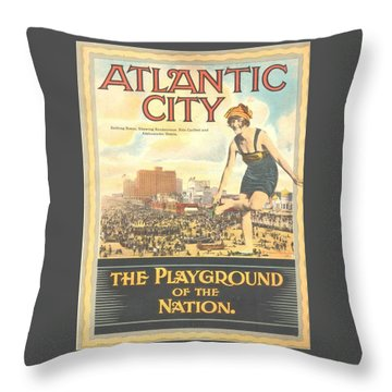 Atlantic City The Playground Of The Nation Throw Pillow by NewJerseyAlmanac