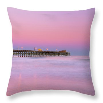 Throw Pillow featuring the photograph Atlantic Ocean And The Apache Pier At Sunset In South Carolina by Ranjay Mitra