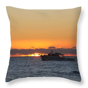 Atlantic Ocean Fishing At Sunrise Throw Pillow