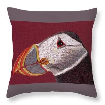 Atlantic Puffin Profile Throw Pillow
