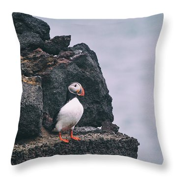 Atlantic Puffin Throw Pillow by Happy Home Artistry