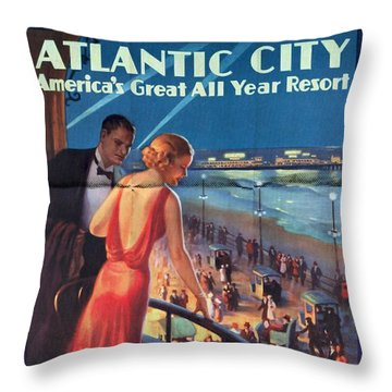 Atlantinc City - America's Great All Year Resort - Vintage Poster Folded Throw Pillow