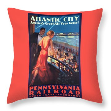 Atlantinc City - America's Great All Year Resort - Vintage Poster Restored Throw Pillow