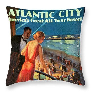 Atlantinc City - America's Great All Year Resort - Vintage Poster Vintagelized Throw Pillow