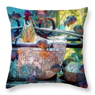 Atlantis Aquarium In Watercolor Throw Pillow by DigiArt Diaries by Vicky B Fuller