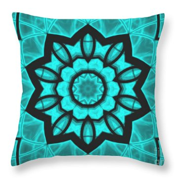 Throw Pillow featuring the mixed media Atlantis Stained Glass by Roxy Riou