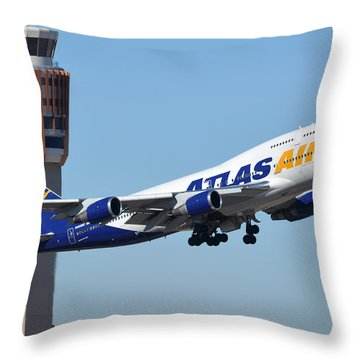 Atlas Air Boeing 747-446 N465mc Phoenix Sky Harbor January 12 2015 Throw Pillow by Brian Lockett