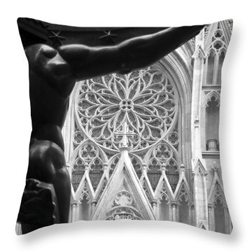 Atlas And St. Patrick's Cathedral Throw Pillow