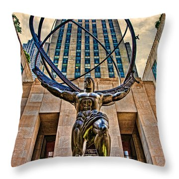 Atlas At The Rock Throw Pillow
