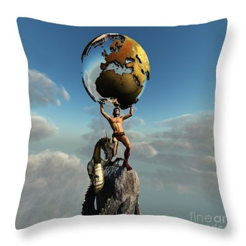 Atlas Greek God Throw Pillow by Corey Ford
