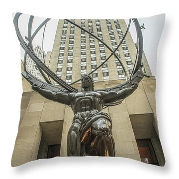 Atlas Rockefeller Center Throw Pillow by Timothy Lowry