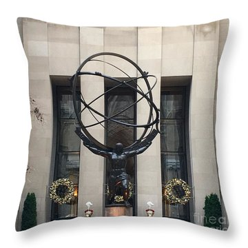Atlas Statue Throw Pillow