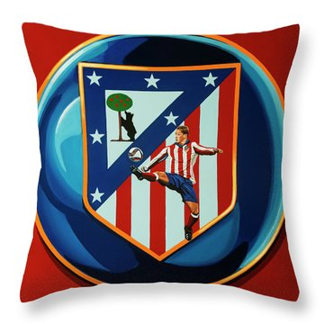 Atletico Madrid Painting Throw Pillow