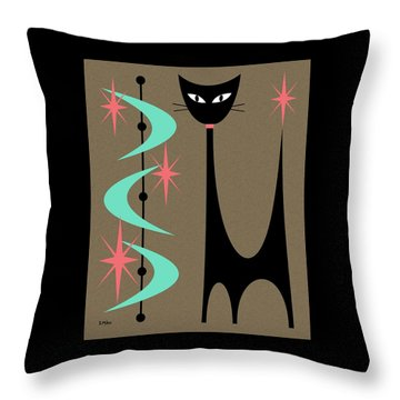 Throw Pillow featuring the digital art Atomic Cat Aqua And Pink by Donna Mibus