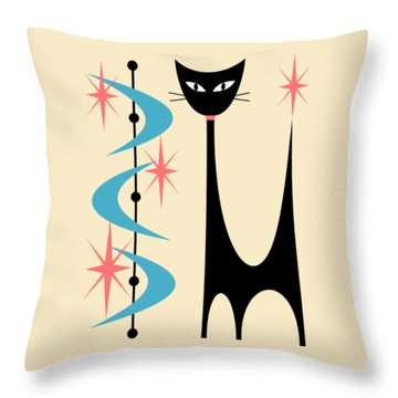 Atomic Cat Turquoise And Pink  Throw Pillow