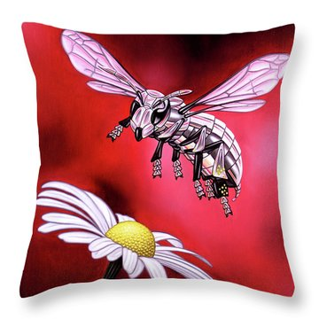 Attack Of The Silver Bee Throw Pillow